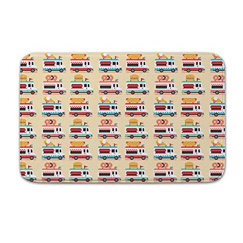 YnimioHOB Bad Matte rutschfeste westlichen Badezimmer Dekor kühle Badematte Teppich Mikrofaser Fußmatte Donut Auto Burger Auto Hot Dog Cart Eiswagen Mobile Vending Cart Rv Cutemat (Mobile Vending)