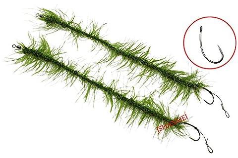 5Größen Mixed Weed Grün Combi Hair Rigs zum Karpfen Angeln Zubehör bereit Made Hair Rigs Terminal Tackle mit Teflon beschichtet Kurv Schaft ohne Widerhaken Haken und Weed Line Karpfen Rigs Tackle
