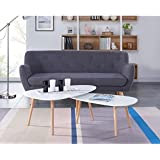 KIVI Lot de 2 tables basses gigognes style scandinaves en MDF laqué blanc mat - L 98 x l 61 / L 88 x l 48 cm