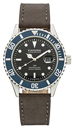 Kahuna–Reloj de cuarzo para hombre con esfera analógica de color negro y correa de color gris oscuro–akus-0103g