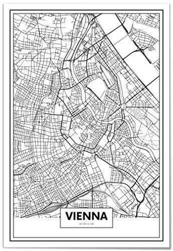 Panorama® Póster Mapa Viena 50 x 70 cm | Impreso