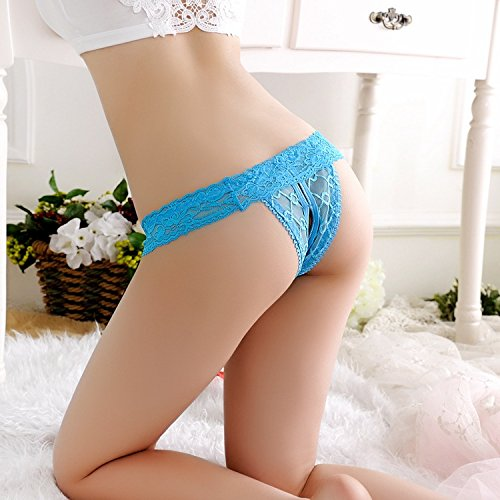 Bigood String Ouvert Entrejambe Femme Dentelle Slip Lingerie Erotique Culotte Transparente Bleu