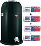 Wesco Kickmaster 33-Liter Mülleimer schwarz + 56 Stück optimal passende Müllbeutel