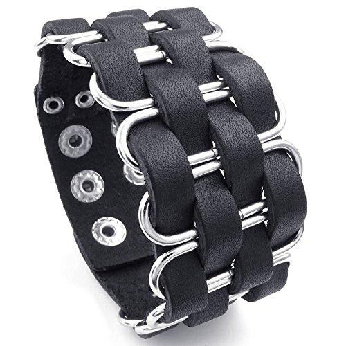 MENDINO Mens Desgaste de la Rueda Punk Rock Pulsera de puño Ajustable Pulsera de Piel (Negro) con 1x Bolsa de Terciopelo