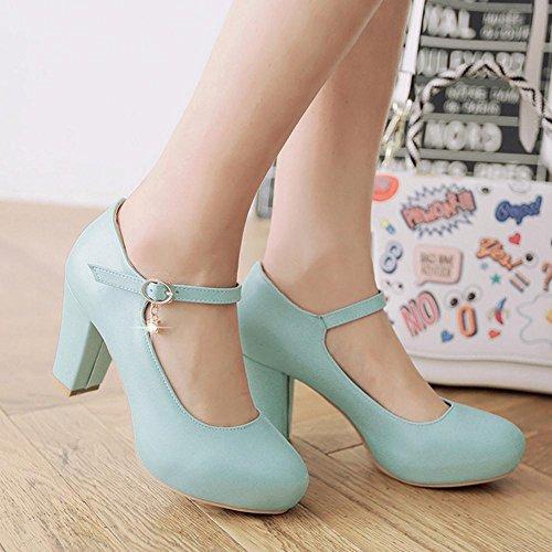 TAOFFEN Femmes Escarpins Soiree Elegant Bloc Talons Hauts Plateforme Chaussures De Boucle Bleu