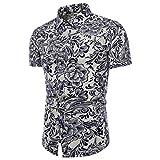 TEBAISE Fashion Business Style Männer Sommer Bachelor Party Dating Charming  Boho Floral Kurzarm Leinen Grundlegende T-Shirt Bluse Top Plus Größe(Weiß,  ... 300fd68f6c
