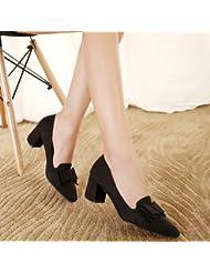 XY&GK Sandalias de Mujer Otoño con gruesas y superficial zapatos bajos zapatos de ante negro 38
