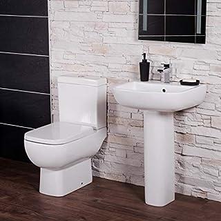 Feel 600kurz Projektion Toilette in blockbauweise mit Dual Flush Zisterne & Full Waschtisch mit Sockel Garderobe Suite