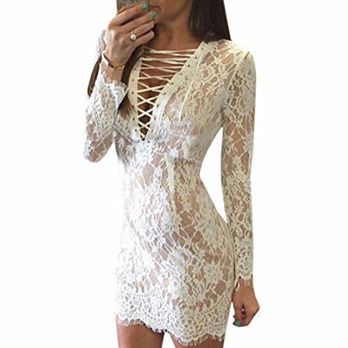 QIYUN.Z Sexy Pizzo Crochet Profondo Scollo A V Bendaggio Donne Vestiti Corti Lungo Del Club Manica Bianco