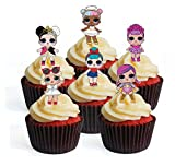 12 LOL Surprise Doll PRECUT Edible Cupcake Toppers - Stand...