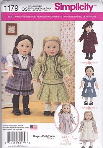 Simplicity Patterns US1179OS - Cartamodello per Vestiti Vintage per Bambole da 45,7 cm, Taglia Unica