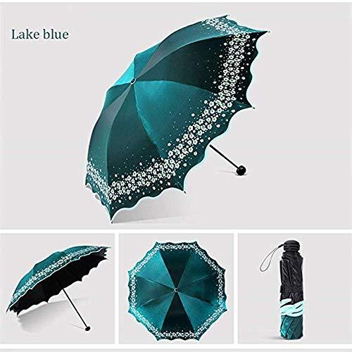 JOLLY Volle Blackout Farbe Flash Umbrella Weibliche Mode Bogen Prinzessin Umbrella Lady Umbrella Kreative Geschenk Sonnenschirm Regenschirm (Stil : D) -