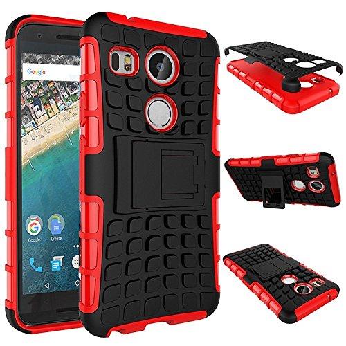 LG Google Nexus 5X 2015 4G/LTE Silikon case Rot Shockproof Cover - Zubehör Etui Nexus 5X Schutzhülle (Handytasche Red) - XEPTIO accessories