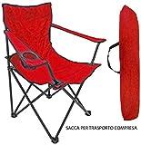 Sedia Poltrona per spiaggia mare campeggio pescatore rossa con sacca