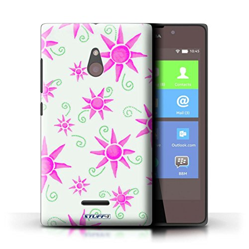 Kobalt® Imprimé Etui / Coque pour Nokia XL / Bleu/Jaune conception / Série Motif Soleil Rose/Blanc