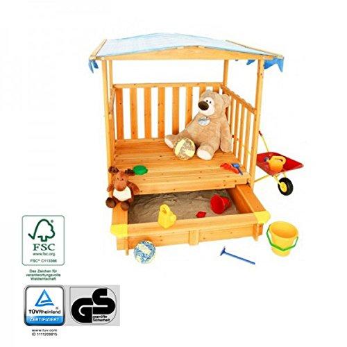 Preisvergleich Produktbild Spielhaus mit Sandkasten und Dach - TÜV-Geprüfte Sicherheit, Holz FSC®