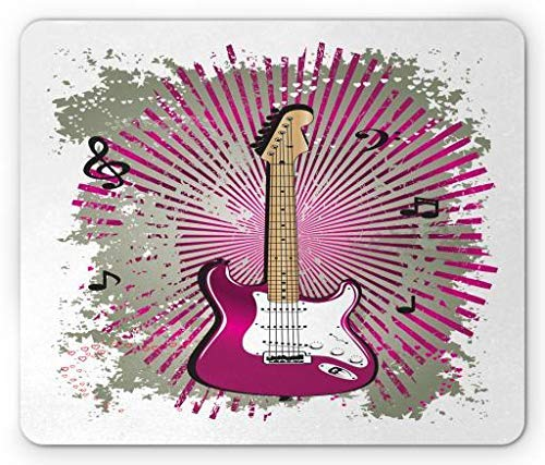 Rock and Roll Mouse Pad, Bass Guiar Metal Show on Grunge Pastel Murky Music Notes Backdrop, Standard Size Rectangle Non-Slip Rubber Mousepad, Magenta and Grey Green