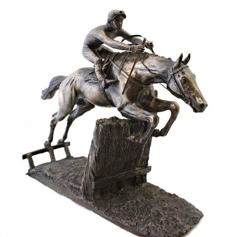 David Geenty Bronzefigur Rennpferd beim Sprung