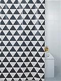 Luxus Modern GEO Badezimmer Duschvorhang schwarz weiß Haken 180 x 180xcm