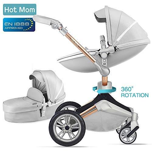 *Kombikinderwagen 3 in 1 Funktion mit Buggy und Babywanne 2018 Hot Mom neues Design, Baby Autoschale separate erhältlich – komplett Grey*