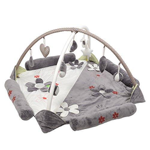 Süß Groß Baby Kind Weich Bequem Krabbeldecken| Spielbögen| Spielmatte| Spielteppiche Mit hängenden Klangspielzeug (Grau)