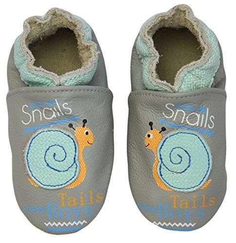 Rose & Chocolat RCC Smiling Snail, Pantofole primi passi bambino Grigio (Grau (Grey1))