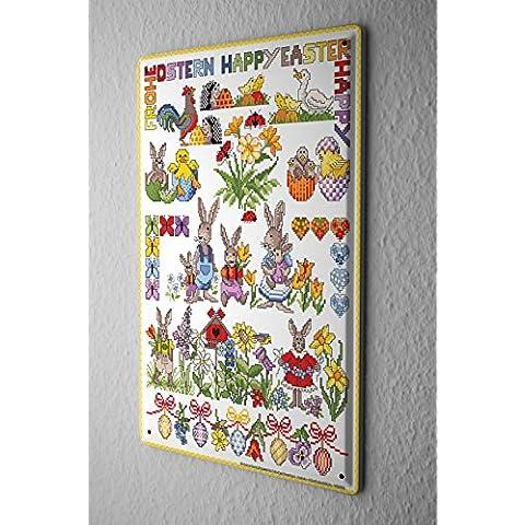 Lindner Design Divertimento Cartello Targa in metallo decorazione della parete coniglietti di Pasqua piastra insegna metallica da muro 20x30