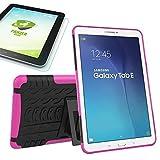Wigento Hybrid Outdoor Schutzhülle Cover Schwarz/Pink für Samsung Galaxy Tab E 9.6 SM T560 T561 Tasche Case + 0.4 mm H9 Tempered Panzerglas Folie