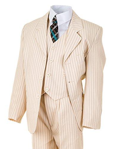 Festlicher 5tlg. Jungen Anzug in vielen Farben mit Hose, Hemd, Weste, Krawatte und Jacke M313Nhbe Hell Beige Nadelstreifen Gr. 12 / 140 / 146