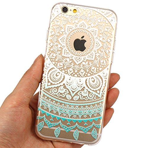 JIAXIUFEN Transparent TPU Silikon Schutz Handy Hülle Case Cover Handyhülle Schutzhülle Rosa Glitzer Durchsichtig Blumen Tasche Etui Bumper für Apple iPhone 6 6S - weiß Tribal Mandala Color13