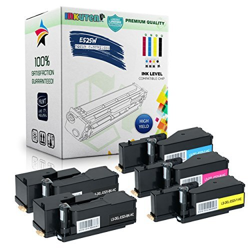 INKUTEN Replacement High Yield Toner Set for DELL E525W - 2 Black, 1 Cyan,  1 Yellow, 1 Magenta by INKUTEN