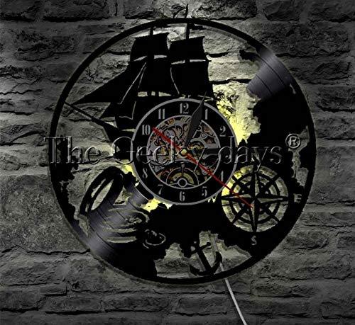 CQAZX Segelboot Wanduhr Navigation Thema Schallplatte Vintage Light Wall Art Marina personalisierte Uhr Sailor Geschenk Pac Navigation