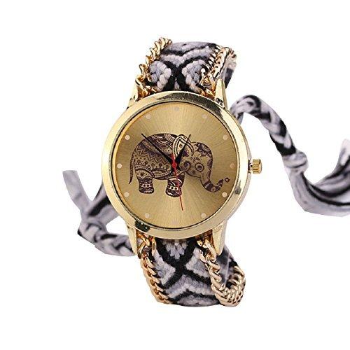 Moda mujeres elefante patrón entrelazado de cuerda banda pulsera cuarzo dial reloj