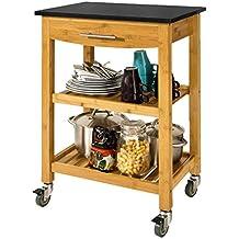 SoBuy® Carrito de cocina con piso de granito, estantería de cocina, carrito de servir de bambú de alta calidad, piso en negro, FKW28-SCH, ES