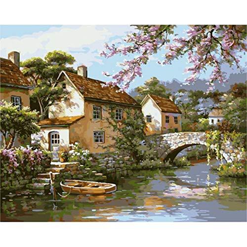 RYUANYUAN Dorf Fluss Malen Nach Zahlen Abstrakte Brücke Ölgemälde Auf Leinwand Dekorative Bild Acryl Wand Bild Kunst 16x20 inch (40x50 cm) ()