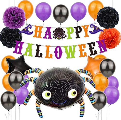 Biluer decorazioni party per feste balloon halloween set-include 4 palline di carta da 10 pollici 1 ragno a palloncino in pellicola di alluminio 2 stelle a cinque punte da 18 pollici 18 lattice