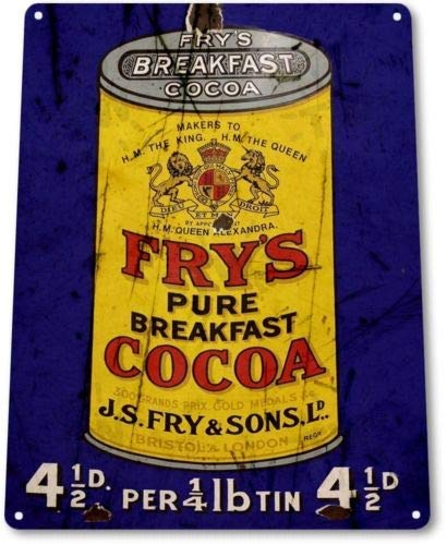 DOGT Metal tin Sign 8x12 inches TIN Sign Frys Breakfast Cocoa Tin Metal Sign Chocolate Retro Kitchen