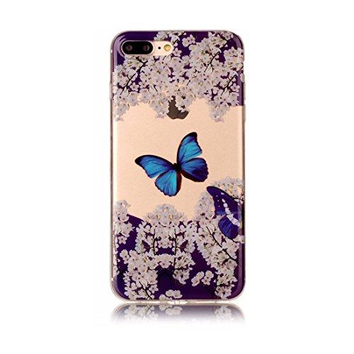iPhone 7 Plus Custodia, Fiore Nero Cartoon Case Pittura Pattern Morbido TPU Cover Silicone Gomma Gel Crystal Transparent Clear Ultra sottile iPhone 7 Plus copertura, Graffi Prova # # 8