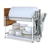 KuanGuang – Abtropfgestell aus Edelstahl für die Küche, 2-stufiges Geschirrabtropfregal, Ordnungssystem-Regal mit Abtropfschale (Silber Weiß) silberfarben / weiß
