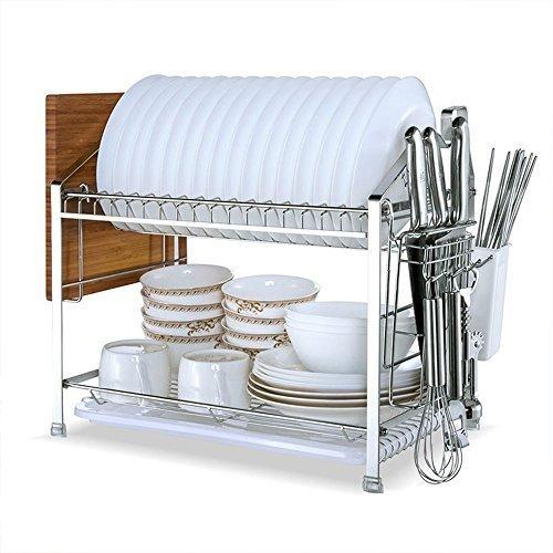 Escurreplatos de acero inoxidable KuanGuang con dos pisos y con Escurridor de acero inoxidable para platos con 2 pisos y con bandeja de goteo