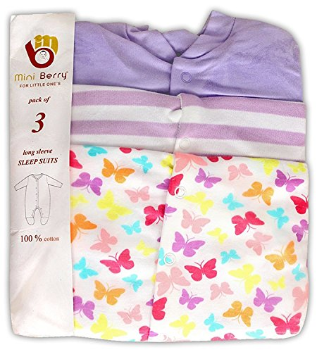 Baby Grow Minni Berry Long Sleeve Cotton Sleep Suit Romper Set of 3 For Girls (12-18M)