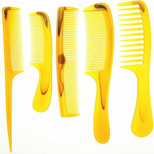 Plastique Barbe Peigne à cheveux Lot de 5 pcs/lot de coiffure Cheveux Salon Large/dents fine/dents Ambre/orange Homme Femme toute la famille Peut l'utiliser