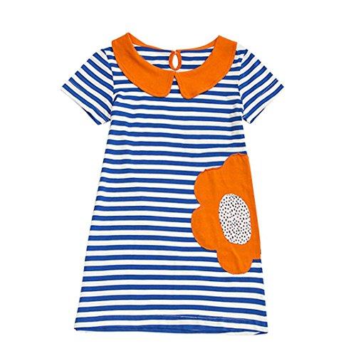 JERFER Mädchen Cartoon Vogel Druck Stickerei Streifen Kleid T-Shirt Top Bluse Kurzarm-Shirt 2- 6Jahre (Blau, 6T) (Kleid Jungen Für Shirt)