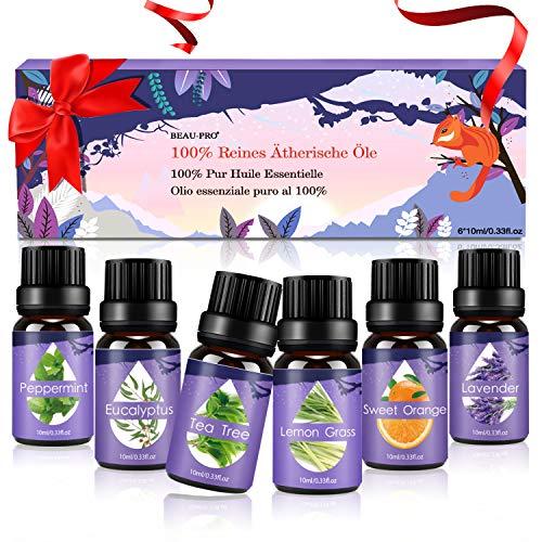 Ätherische Öle Set, Duftöle für Diffuser und Aromatherapie, 100{f1f486c227a52a5a52c25eb26763ebbd6a34d25ca475a88fd76fbb752ed56c0f} Reines naturrein Aroma-Öl, 6 Verschiedene Aromen - Lavendel, Teebaum, Eukalyptus, Zitronengras, süße Orange, Pfefferminze