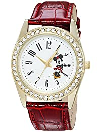 Disney Women's 'Minnie Mouse' Quartz Metal Casual Watch, Color:Red (Model: WDS000381)