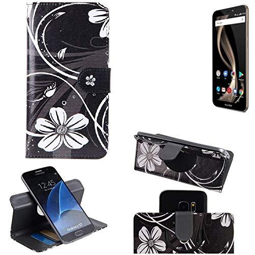 K-S-Trade® Schutzhülle Für Allview X4 Soul Infinity Z Hülle 360° Wallet Case Schutz Hülle ''Flowers'' Smartphone Flip Cover Flipstyle Tasche Handyhülle Schwarz-weiß 1x