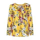 Manadlian Damen T-Shirt Frauen Frau Mode V-Ausschnitt Hemd Blumen Lange Ärmel Beiläufig Locker Übergröße Oberteile