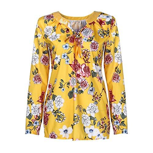 SEWORLD Damen Schal Bluse Stehkragen Casual Mode T-Shirt Pullover Bluse Tops Strick Button Gedruckt Langarm Plus Größe Lose Shirt Bluse(X1-Gelb,EU-44/CN-4XL)