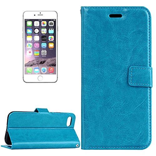 Hülle für iPhone 7 plus , Schutzhülle Für iPhone 7 Plus Verrückte Pferd Textur Horizontale Flip Leder Tasche mit magnetischen Wölbung & Halter & Card Slots & Wallet & Photo Frame ,hülle für iPhone 7 p Blue