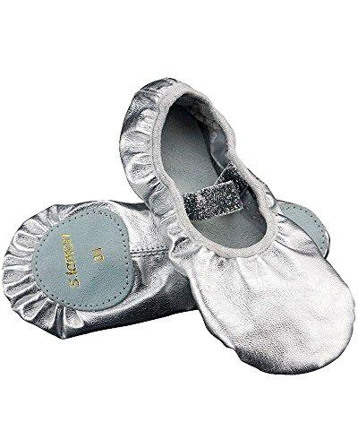s.lemon Nette Erste Klasse Oberste Schicht Leder Ballettschuhe für Kinder Mädchen Silber (28 EU)